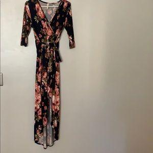 Hi low faux wrap maxi dress